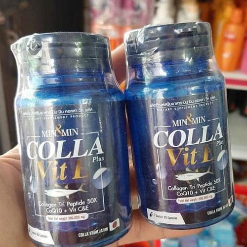 Viên Uống Trắng Da Chắc Móng Khỏe Tóc Min&Min Colla Vit E Plus Thái Lan